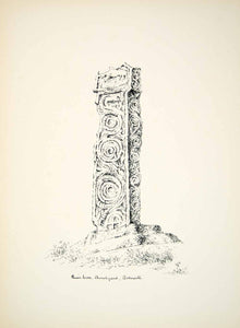 1889 Lithograph D Waters Art Celtic Cross All Saint Church Bakewell England ZZ22