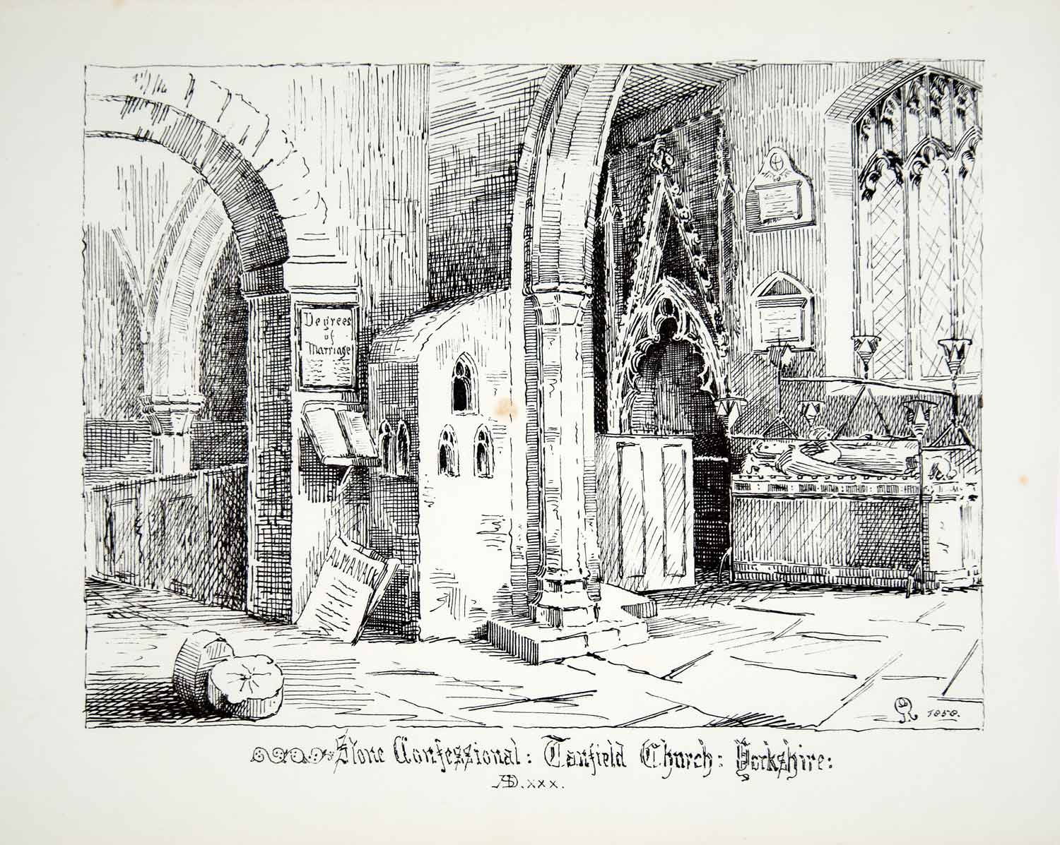 1858 Lithograph Gibson Art Stone Confessional St Nicholas Church Tanfield UK ZZ3