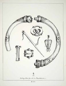 1858 Lithograph FM Gresley Art Archaeology Torc Neck Ring Jewelry Costume ZZ3
