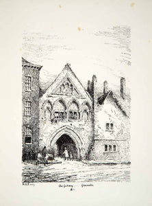 1859 Lithograph M Pearson Art Gate St Mary de Lode Square Gloucester England ZZ4