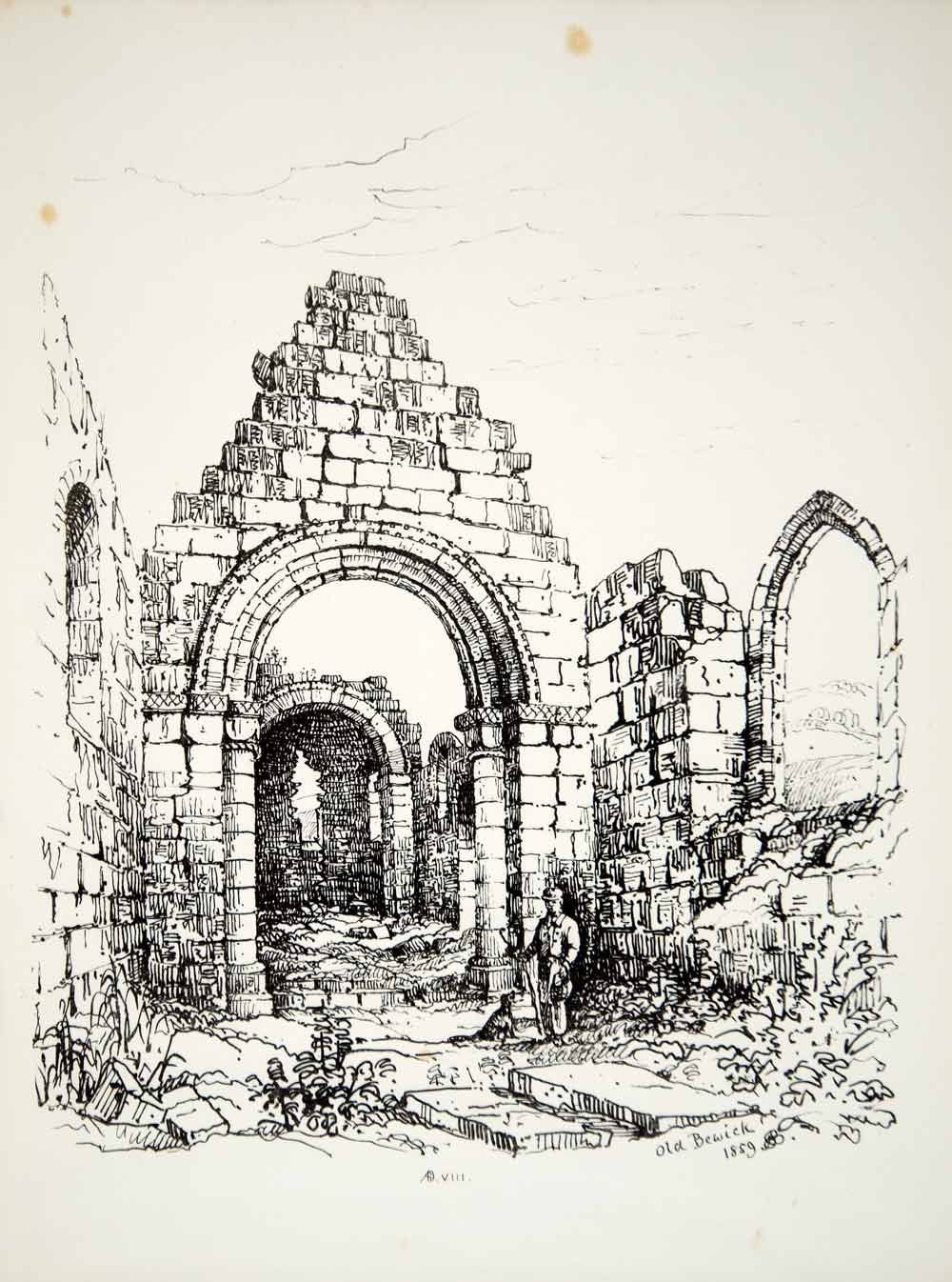 1859 Lithograph J Brooke Art Church Berwick-on-Tweed Northumberland England ZZ4