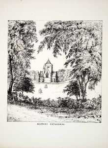 1860 Lithograph H Meynell Art Kilmore Cathedral County Cavan Ireland Church ZZ5
