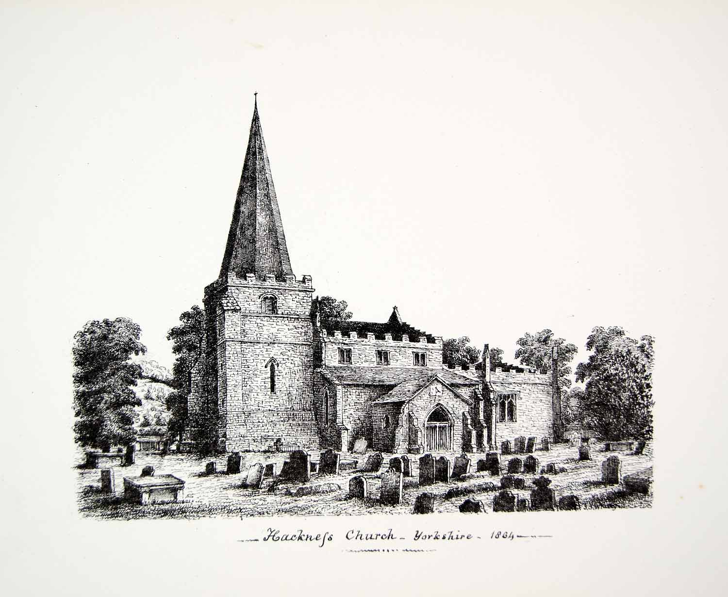 1864 Lithograph JS Whitty Art Church St Peter Hackness North Yorkshire UK ZZ8