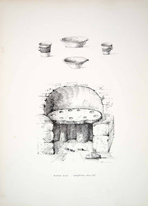 1865 Lithograph CS Beckett Art Ancient Roman Kiln Archaeology Shepton Mallet ZZ9