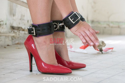 Leather Handcuffs Ankles - Purple Padded (+ Lockable) Sadolair Collection