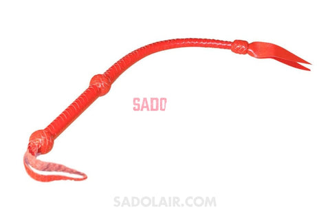 Red Leather Massive Whip With Braided Handle