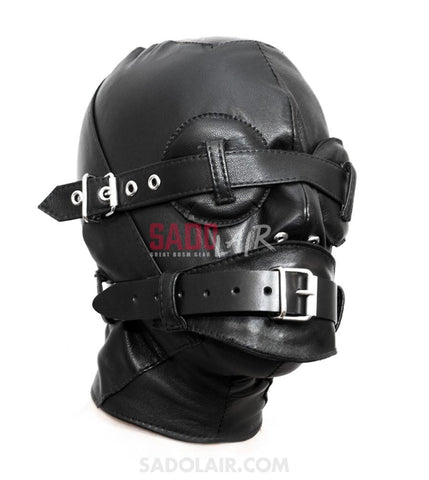 Leather Hood With Gag And Blindfold Sadolair Collection