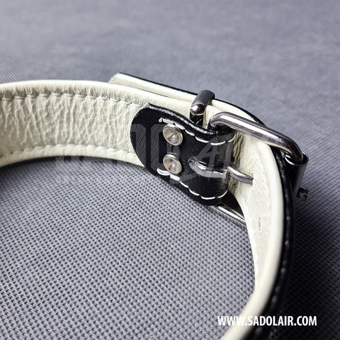 Leather Fetish Collar Carbon White