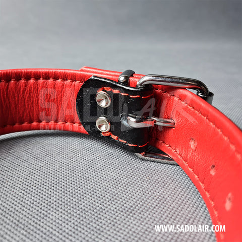 Leather Fetish Collar Carbon Red