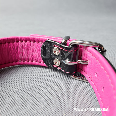Leather Fetish Collar Carbon Pink