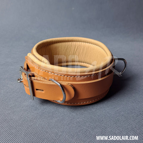 "Leather Padded BDSM Collar ""Luxury"" Brown"
