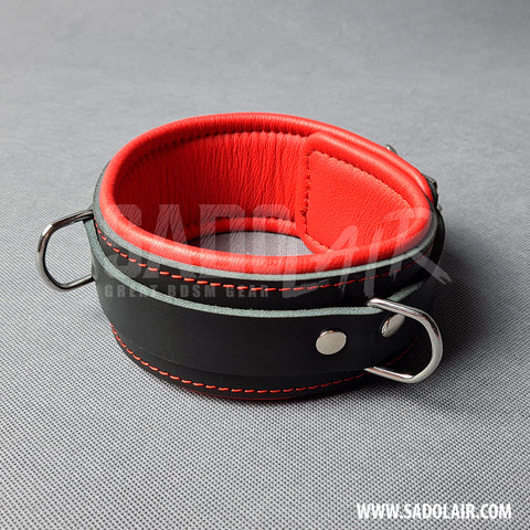 "Leather Padded BDSM Collar ""Luxury"" Red"