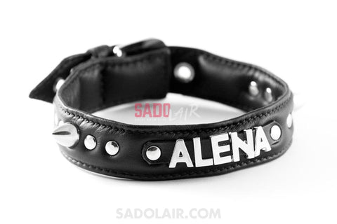Leather Collar With Letters Sadolair Collection