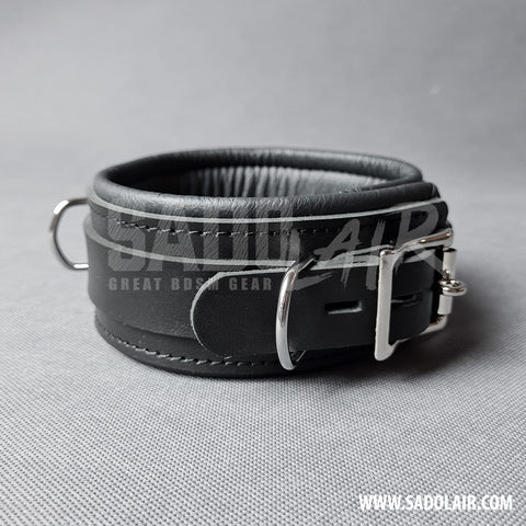 "Leather Padded BDSM Collar ""Luxury"" Black"