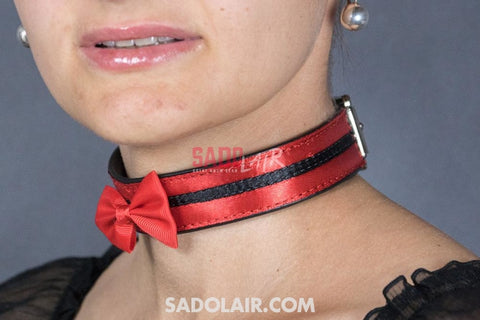 Leather Romantic Collar Red Ii. Sadolair Collection