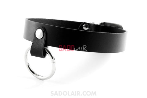 Black Leather Collar With Ring Sadolair Collection