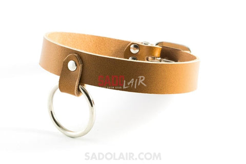 Brown Leather Collar With Ring Sadolair Collection