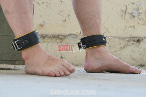 Leather Handcuffs Ankles - Yellow Sadolair Collection
