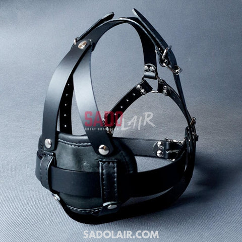 Leather Head Harness With Inner Dildo Sadolair Collection