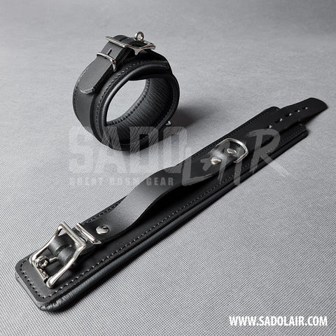 "Leather Padded BDSM Ankle Cuffs ""Luxury"" Black"