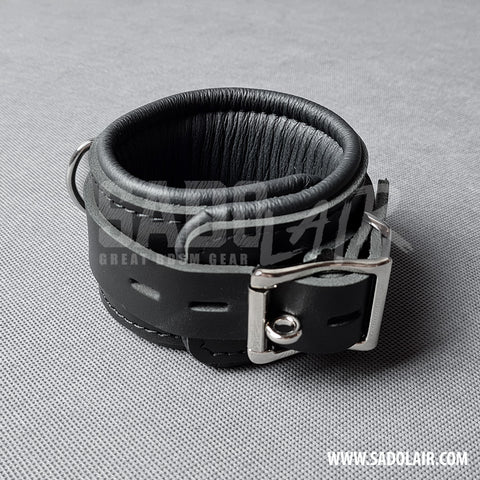 "Leather Padded BDSM Wrist Cuffs ""Luxury"" Black"