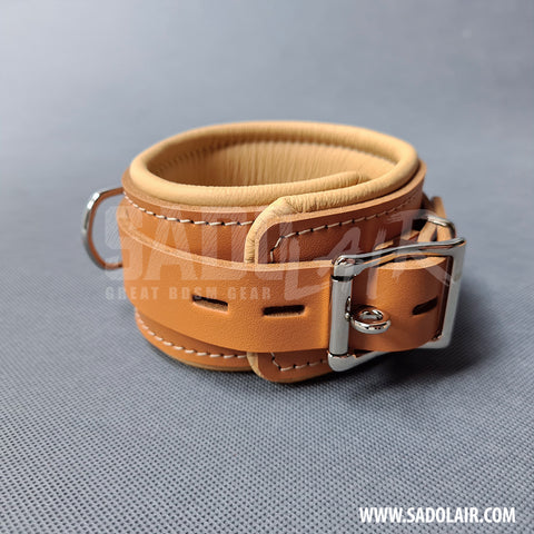 "Padded BDSM Ankle Cuffs ""Luxury"" Brown"