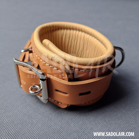 "Leather Padded BDSM Wrist Cuffs ""Luxury"" Brown"