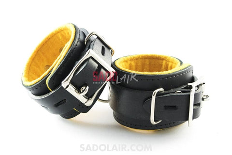 Leather Cuffs Wrist - Yellow Sadolair Collection
