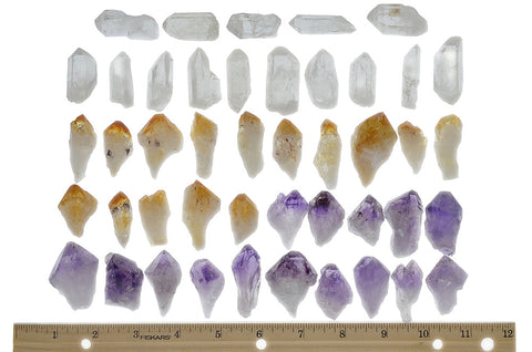 75 Small, Medium, Large and Extra Large Points for Jewelry Making and Wire Wrapping - Citrine, Amethyst, and Clear Crystal Quartz Point