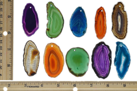 "Fantasia Materials: 10 Pack of Pre-Drilled Assorted Agate Slices - 1.5"" to 2"" Avg. - Perfect for Pendants, Party Favors, Collecting, Wire Wrapping, Gifts and More!"