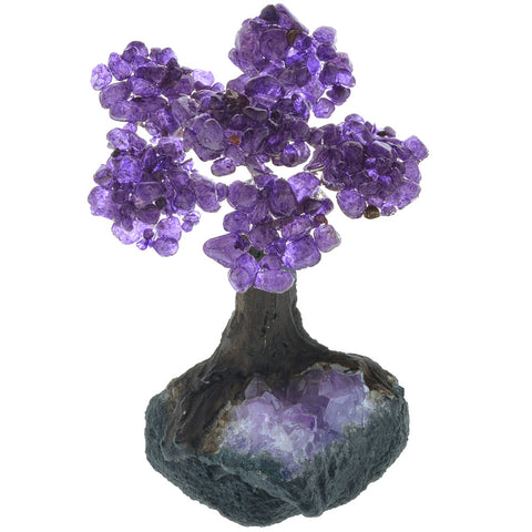 Fantasia Materials: Amethyst Gemstone Trees on Amethyst Base - Six Petals of Tumbled Stones in Orgonite Resin - Great for Party Favors, Collecting, Gifts, Home Décor and More!