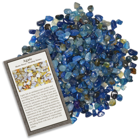 Tumbled Dyed Blue Agate Chip Stones with ID Card - Natural Earth Mined Brazilian (Not China) Polished Rocks.