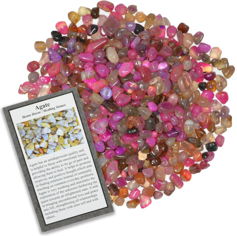 Tumbled Dyed Pink Agate Chip Stones with ID Card - Natural Earth Mined Brazilian (Not China) Polished Rocks.