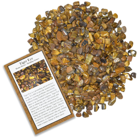 Tumbled Tiger Eye Chip Stones with ID Card - Natural Earth Mined Brazilian (Not China) Polished Rocks.