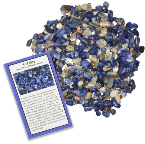Tumbled Sodalite Chip Stones with ID Card - Natural Earth Mined Brazilian (Not China) Polished Rocks.