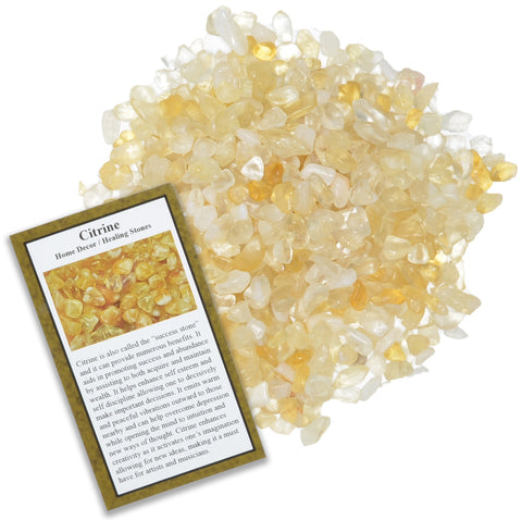 Tumbled Citrine Chip Stones with ID Card - Natural Earth Mined Brazilian (Not China) Polished Rocks.
