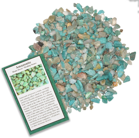Tumbled Amazonite Chip Stones with ID Card - Natural Earth Mined Brazilian (Not China) Polished Rocks.