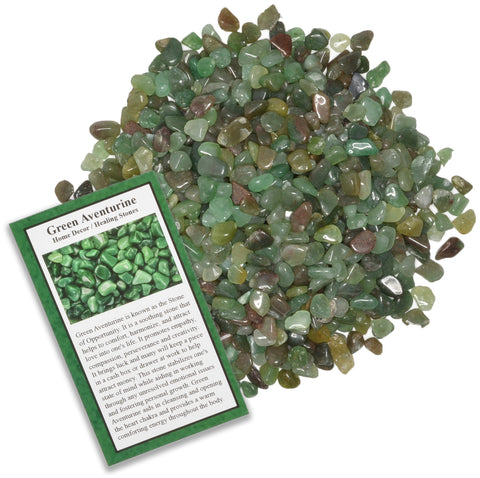 Tumbled Green Aventurine Chip Stones with ID Card - Natural Earth Mined Brazilian (Not China) Polished Rocks.
