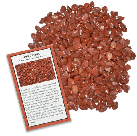 Tumbled Red Jasper Chip Stones with ID Card - Natural Earth Mined Brazilian (Not China) Polished Rocks.