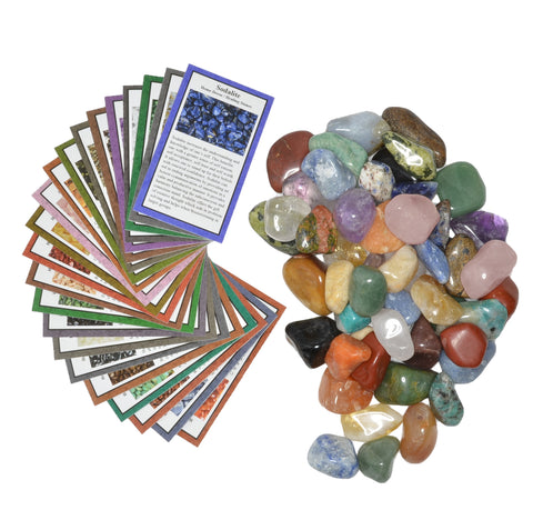 "2 lbs Medium Tumbled Polished Natural Gem Stones with Educational Rock Information and Identification Cards - avg 0.25"" to 0.75"""