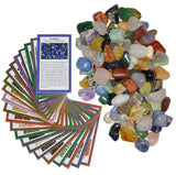 2 lbs Small Tumbled Polished Natural Gem Stones with Educational Rock Information Cards