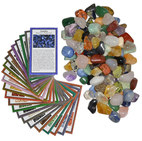 "2 lbs Small Tumbled Polished Natural Gem Stones with Educational Rock Information and Identification Cards - avg 0.25"" to 0.75"""