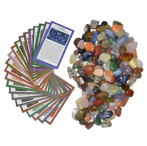 "2 lbs XSmall Tumbled Polished Natural Gem Stones with Educational Rock Information and Identification Cards - avg 0.25"" to 0.75"""