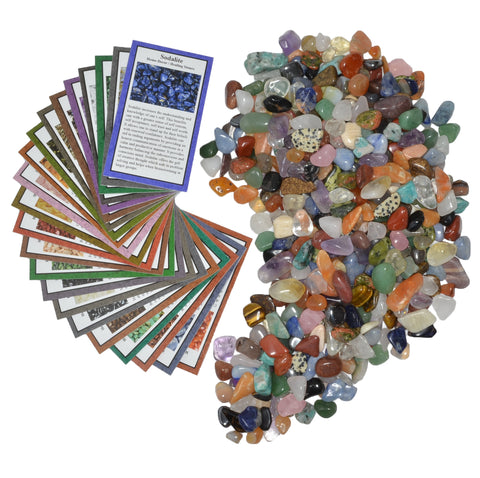 2 lbs XXSmall Tumbled Polished Natural Gem Stones with Educational Rock Information Cards