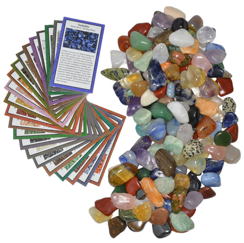 "3 lbs Small Tumbled Polished Natural Gem Stones with Educational Rock Information and Identification Cards - avg 0.35"" to 0.75"""