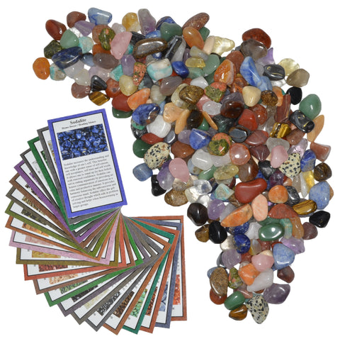"3 lbs XSmall Tumbled Polished Natural Gem Stones with Educational Rock Information and Identification Cards - avg 0.35"" to 0.75"""