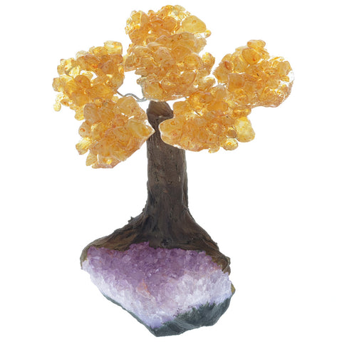 Fantasia Materials: Citrine Gemstone Trees on Amethyst Base - Six Petals of Tumbled Stones in Orgonite Resin - Great for Party Favors, Collecting, Gifts, Home Décor and More!