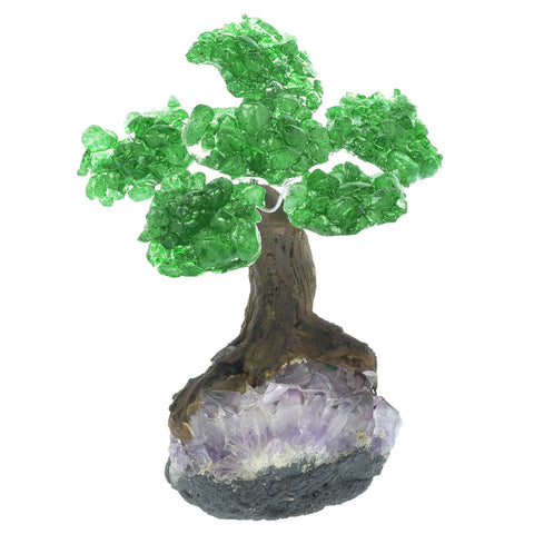 Fantasia Materials: Green Aventurine Gemstone Trees on Amethyst Base - Six Petals of Tumbled Stones in Orgonite Resin - Great for Party Favors, Collecting, Gifts, Home Décor and More!