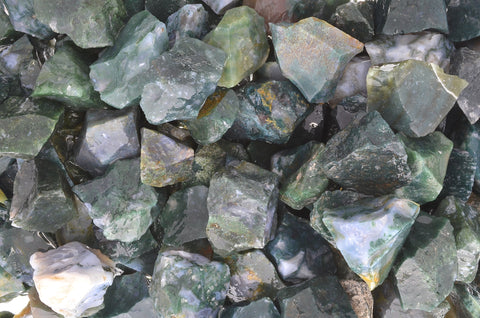 Green Moss Agate Rough Stones from India