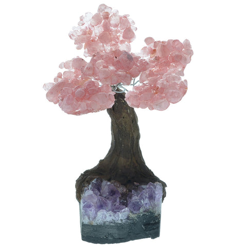 Fantasia Materials: Rose Quartz Gemstone Trees on Amethyst Base - Six Petals of Tumbled Stones in Orgonite Resin - Great for Party Favors, Collecting, Gifts, Home Décor and More!